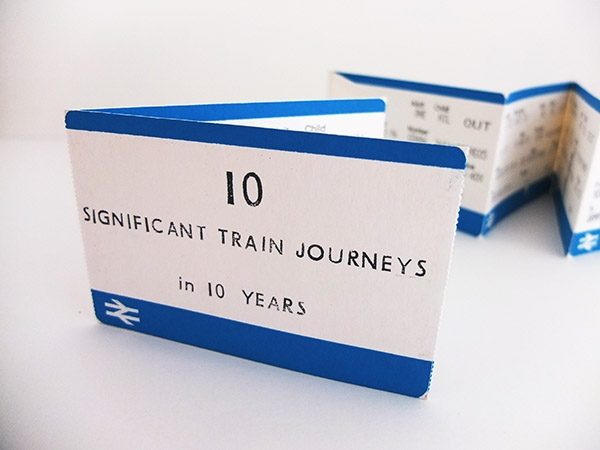 I selected one ticket for each year over a period of ten years, for a train journey that had some significance to me. The train tickets have been enlarged and printed in blue (instead of the usual orange). Screen printed, perforated concertina book. Edition of 16. 14 x 9 cm.