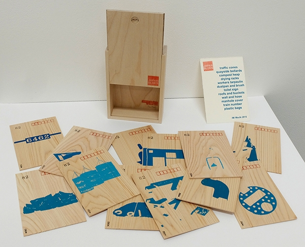 Twelve Japanese wooden postcards screen printed with a collection of blue objects spotted during a train journey around Japan. Housed in a wooden box. Edition of 10. 2015.