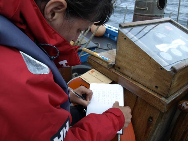 Finding the time to work was not easy, between sleeping, being on watch, fishing (unsucessfully mostly) and constantly surrounded by other people! Making notes of where and when each postcard was thrown over board!.